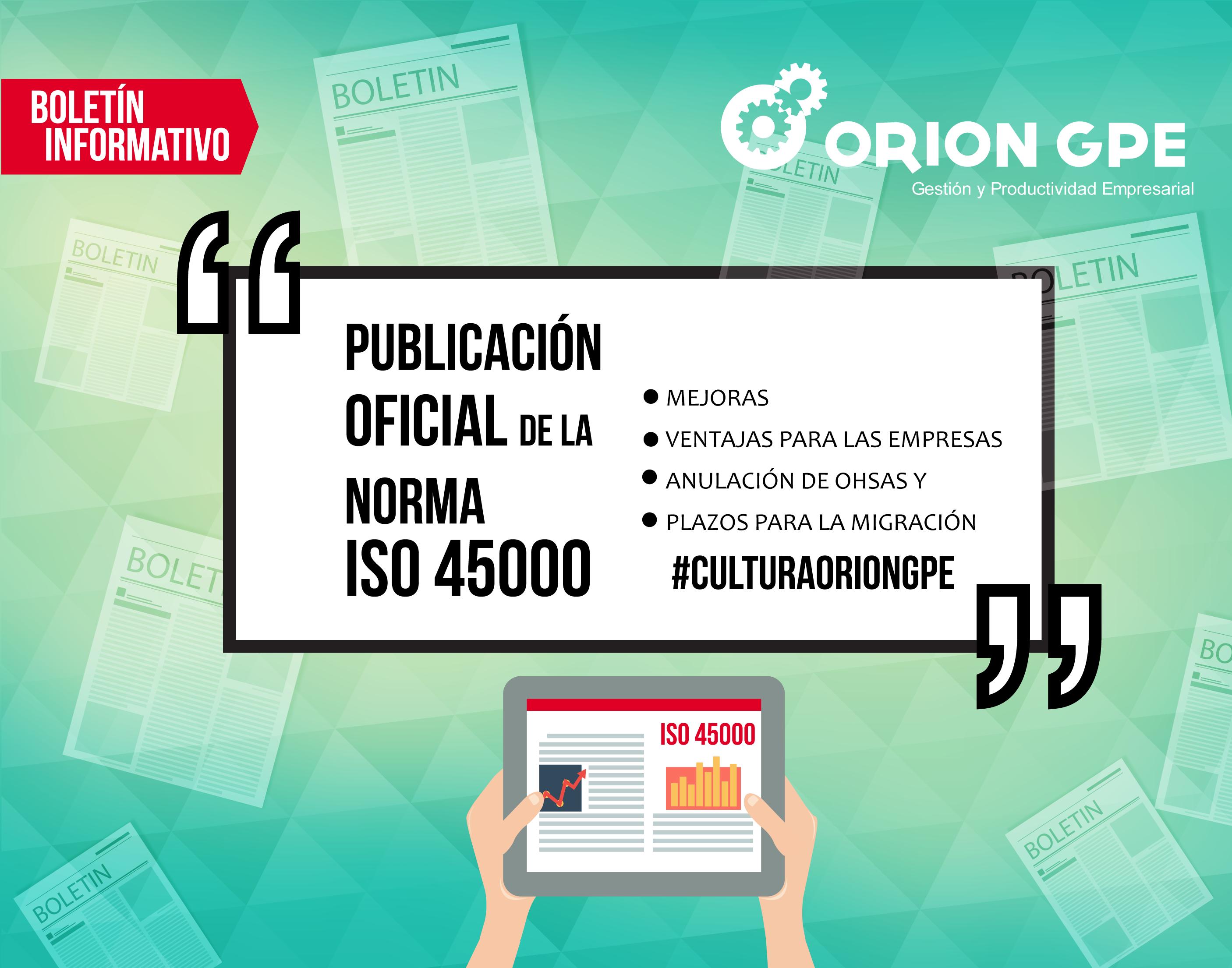 APROBACIÓN DE LA NUEVA NORMA ISO 45001:2018