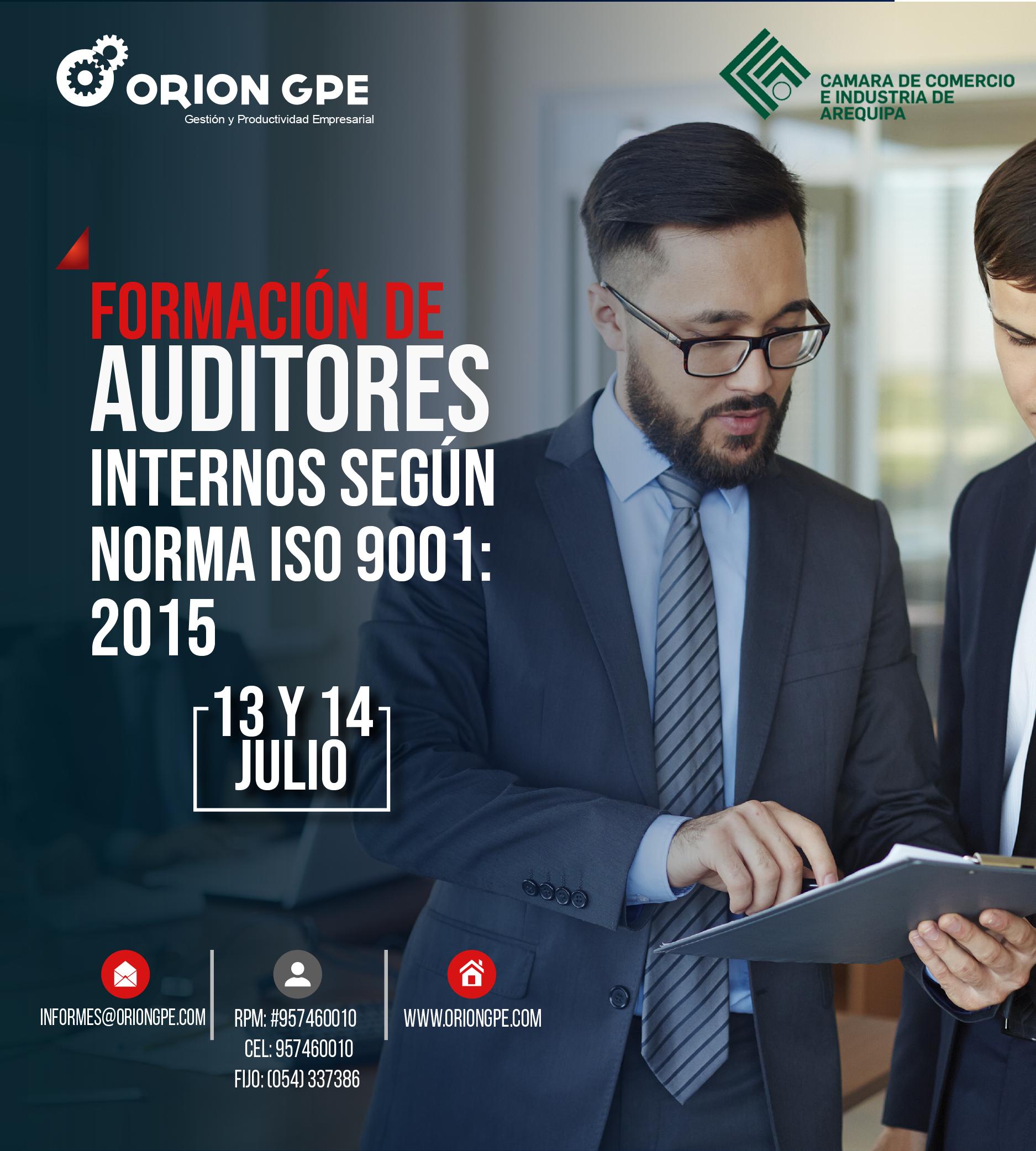 En este momento estás viendo FORMACIÓN DE AUDITORES INTERNOS SEGÚN NORMA ISO 9001
